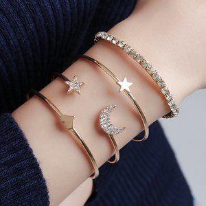 Tennis cuff Bracelet set Gold Plated New